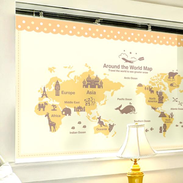 신나는 세계여행 옐로우+다크브라운 [고급 컬러 안개시트지/유리 시트지]