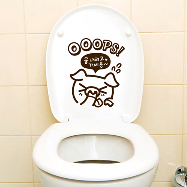 OOOPS! 돼지 욕실 스티커 [포인트 스티커/화장실 스티커]